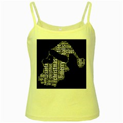 Funny Santa Black And White Typography Yellow Spaghetti Tank by yoursparklingshop