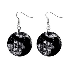 Funny Santa Black And White Typography Mini Button Earrings by yoursparklingshop