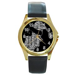 Funny Santa Black And White Typography Round Gold Metal Watch by yoursparklingshop