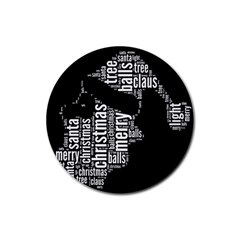 Funny Santa Black And White Typography Rubber Coaster (round)  by yoursparklingshop
