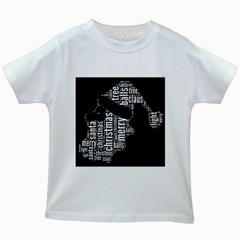 Funny Santa Black And White Typography Kids White T Shirts by yoursparklingshop