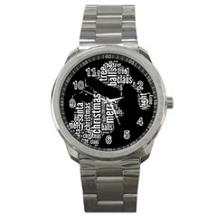 Funny Santa Black And White Typography Sport Metal Watch by yoursparklingshop