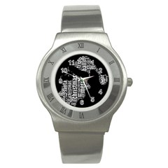 Funny Santa Black And White Typography Stainless Steel Watch by yoursparklingshop