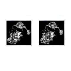 Funny Santa Black And White Typography Cufflinks (square) by yoursparklingshop