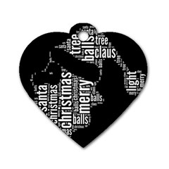 Funny Santa Black And White Typography Dog Tag Heart (one Side) by yoursparklingshop
