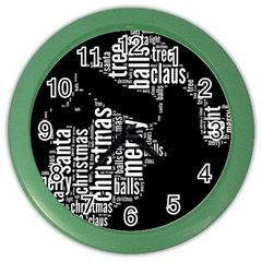 Funny Santa Black And White Typography Color Wall Clocks by yoursparklingshop