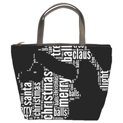 Funny Santa Black And White Typography Bucket Bags by yoursparklingshop