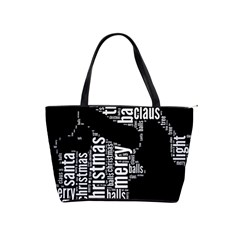 Funny Santa Black And White Typography Shoulder Handbags by yoursparklingshop
