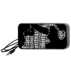 Funny Santa Black And White Typography Portable Speaker (black)  by yoursparklingshop
