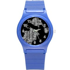 Funny Santa Black And White Typography Round Plastic Sport Watch (s) by yoursparklingshop