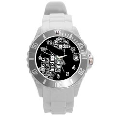 Funny Santa Black And White Typography Round Plastic Sport Watch (l) by yoursparklingshop