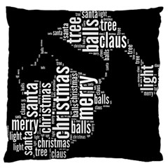 Funny Santa Black And White Typography Large Cushion Case (two Sides) by yoursparklingshop
