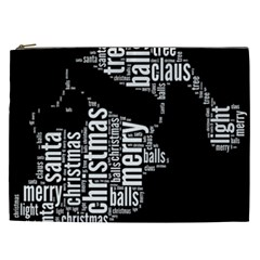 Funny Santa Black And White Typography Cosmetic Bag (xxl)  by yoursparklingshop
