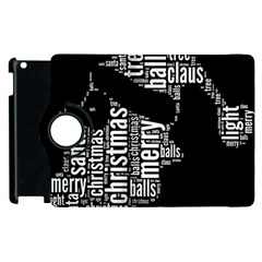 Funny Santa Black And White Typography Apple Ipad 3/4 Flip 360 Case by yoursparklingshop