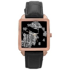 Funny Santa Black And White Typography Rose Gold Leather Watch  by yoursparklingshop