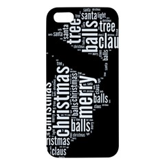 Funny Santa Black And White Typography Apple Iphone 5 Premium Hardshell Case by yoursparklingshop