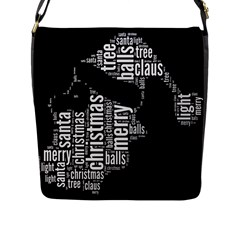 Funny Santa Black And White Typography Flap Messenger Bag (l)  by yoursparklingshop