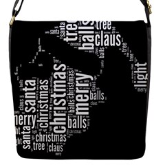 Funny Santa Black And White Typography Flap Messenger Bag (s) by yoursparklingshop