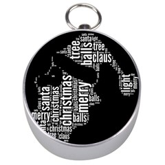 Funny Santa Black And White Typography Silver Compasses by yoursparklingshop