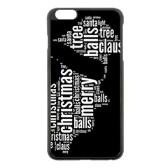 Funny Santa Black And White Typography Apple Iphone 6 Plus/6s Plus Black Enamel Case by yoursparklingshop