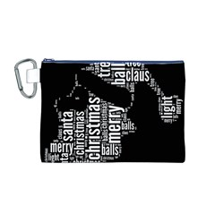 Funny Santa Black And White Typography Canvas Cosmetic Bag (m) by yoursparklingshop
