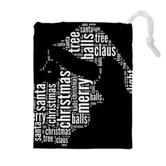 Funny Santa Black And White Typography Drawstring Pouches (extra Large) by yoursparklingshop