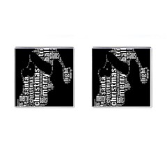 Funny Merry Christmas Santa, Typography, Black And White Cufflinks (square) by yoursparklingshop