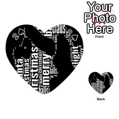 Funny Merry Christmas Santa, Typography, Black And White Playing Cards 54 (heart)  by yoursparklingshop