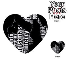 Funny Merry Christmas Santa, Typography, Black And White Multi Purpose Cards (heart)  by yoursparklingshop