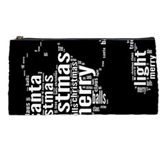 Funny Merry Christmas Santa, Typography, Black And White Pencil Cases by yoursparklingshop