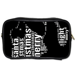 Funny Merry Christmas Santa, Typography, Black And White Toiletries Bags by yoursparklingshop