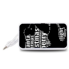 Funny Merry Christmas Santa, Typography, Black And White Portable Speaker (white)  by yoursparklingshop