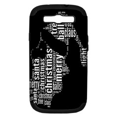 Funny Merry Christmas Santa, Typography, Black And White Samsung Galaxy S Iii Hardshell Case (pc+silicone) by yoursparklingshop