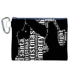 Funny Merry Christmas Santa, Typography, Black And White Canvas Cosmetic Bag (xl)  by yoursparklingshop