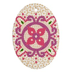 Hindu Flower Ornament Background Oval Ornament (two Sides) by TastefulDesigns