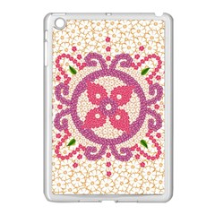 Hindu Flower Ornament Background Apple Ipad Mini Case (white) by TastefulDesigns