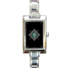 Elegant White Royal Ornament On Black Background Rectangle Italian Charm Watch by TastefulDesigns