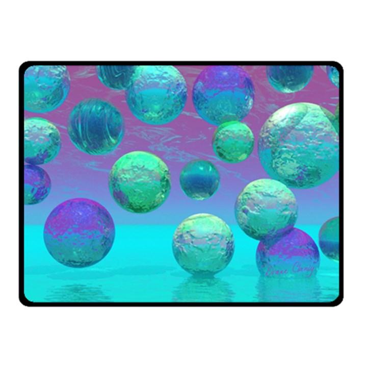 Ocean Dreams, Abstract Aqua Violet Ocean Fantasy Fleece Blanket (Small)