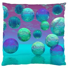 Ocean Dreams, Abstract Aqua Violet Ocean Fantasy Large Flano Cushion Case (two Sides) by DianeClancy