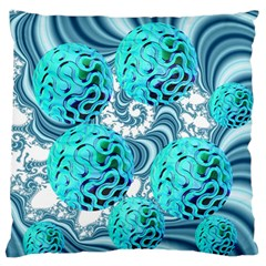 Teal Sea Forest, Abstract Underwater Ocean Standard Flano Cushion Case (one Side) by DianeClancy