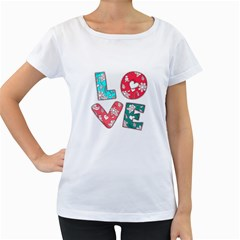 Vintage Love Lettering With Ornament  Women s Loose-Fit T-Shirt (White) by TastefulDesigns