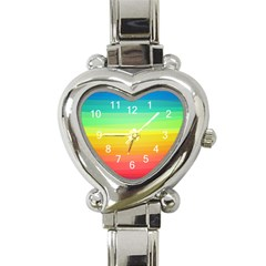 Sweet Colored Stripes Background Heart Italian Charm Watch by TastefulDesigns