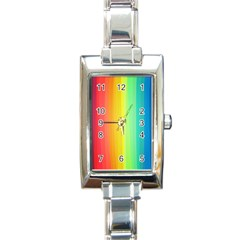 Sweet Colored Stripes Background Rectangle Italian Charm Watch by TastefulDesigns