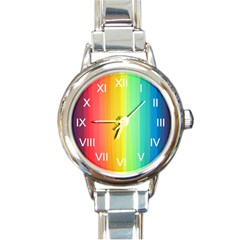Sweet Colored Stripes Background Round Italian Charm Watch by TastefulDesigns