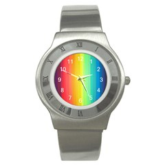 Sweet Colored Stripes Background Stainless Steel Watch by TastefulDesigns