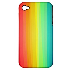 Sweet Colored Stripes Background Apple Iphone 4/4s Hardshell Case (pc+silicone) by TastefulDesigns