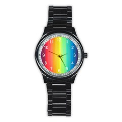 Sweet Colored Stripes Background Stainless Steel Round Watch by TastefulDesigns