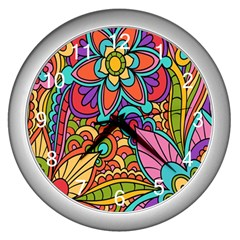 Festive Colorful Ornamental Background Wall Clocks (silver)