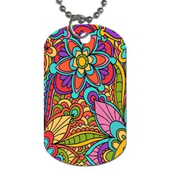Festive Colorful Ornamental Background Dog Tag (one Side) by TastefulDesigns