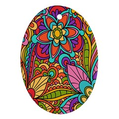 Festive Colorful Ornamental Background Oval Ornament (two Sides) by TastefulDesigns